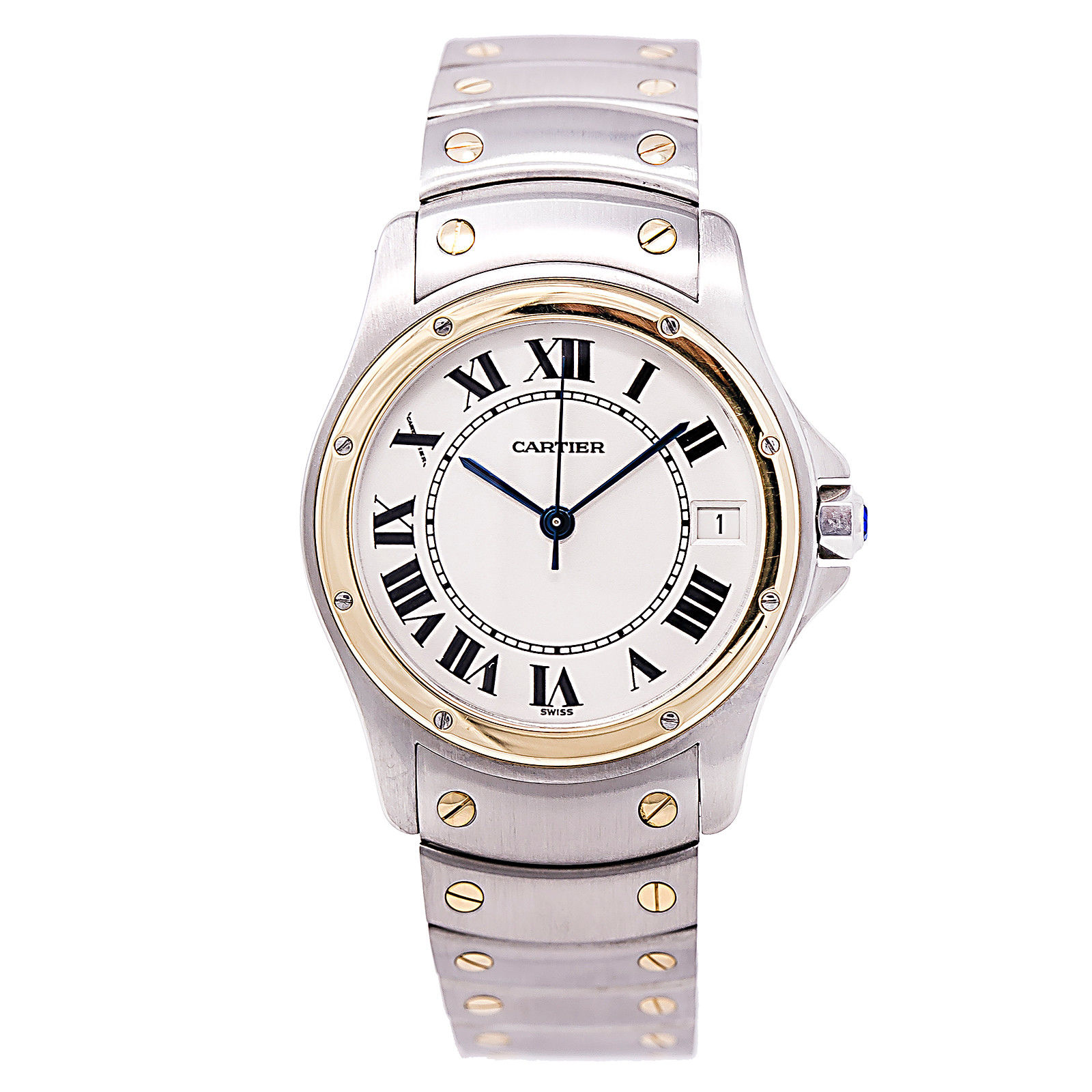 """Image of """"Cartier Ronde Santos 1910 Stainless Steel / 18K Yellow Gold 33mm Mens"""""""