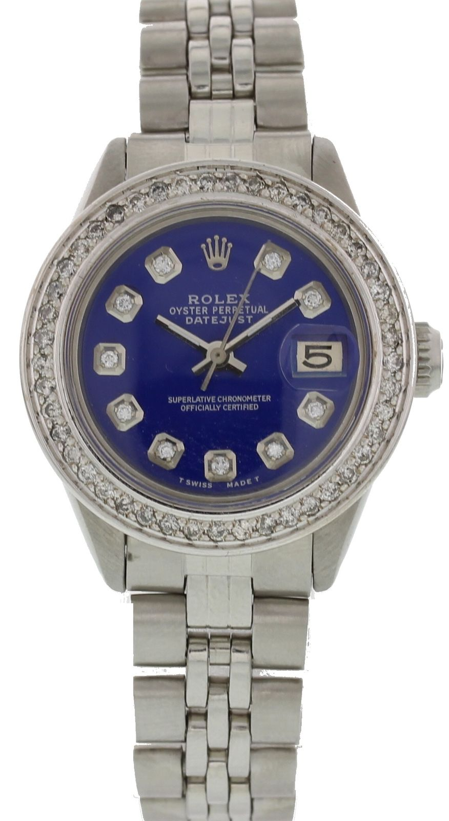 "Image of ""Rolex Datejust 6916 Stainless Steel Blue Dial Diamonds Automatic 26mm"""