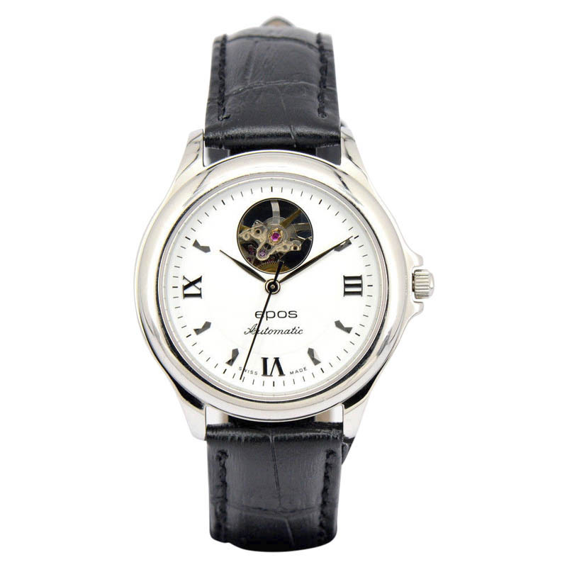 """Image of """"Epos 3323Rwh Stainless Steel & Leather Automatic 37mm Mens Watch"""""""