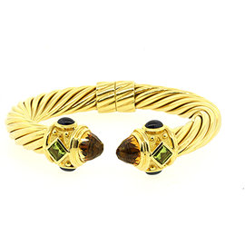David Yurman 18K Yellow Gold with Citrine Peridot Sapphire Renaissance Cable Cuff Bracelet