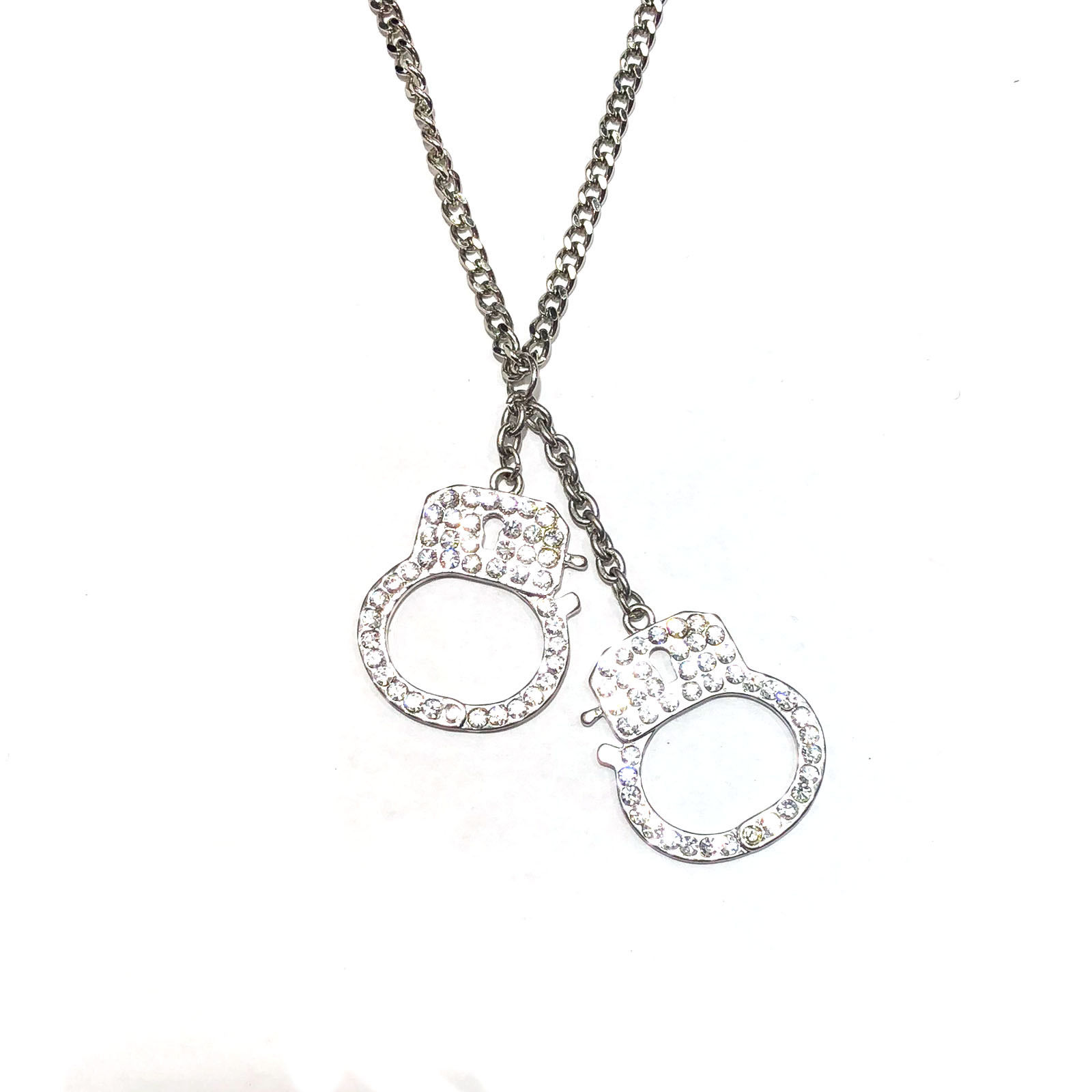 "Image of ""Stainless Steel Handcuff White Rhine Stone Crystals Pendant Necklace"""
