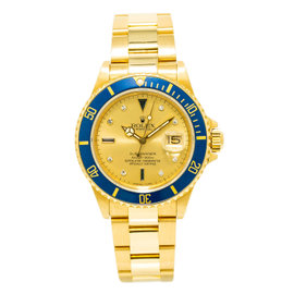 Rolex Submariner 16808 18K Yellow Gold with Serti Dial Automatic Vintage 40mm Mens Watch