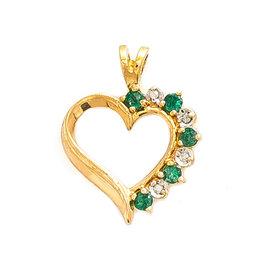 14K Yellow Gold 0.15ct Diamond & Emeralds Heart Pendant