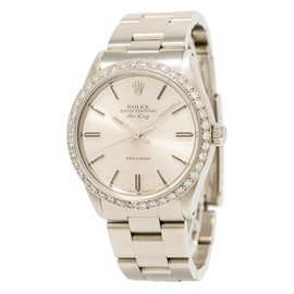 Rolex Air-king 5500 Stainless Steel with 1.65ct Diamond Automatic Vintage 34mm Mens Watch