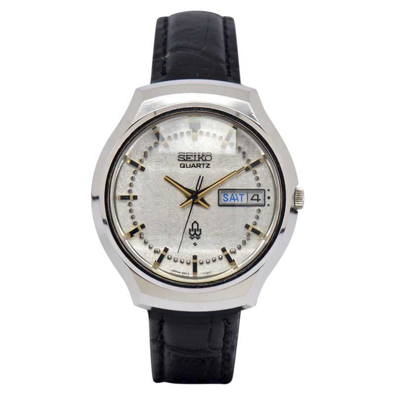 "Image of ""Seiko 3803-7060 Stainless Steel / Leather Quartz Vintage 37mm Mens"""