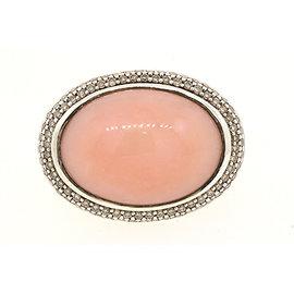 David Yurman 925 Sterling Silver with Pink Cabochon & Diamond Band Ring Size 6