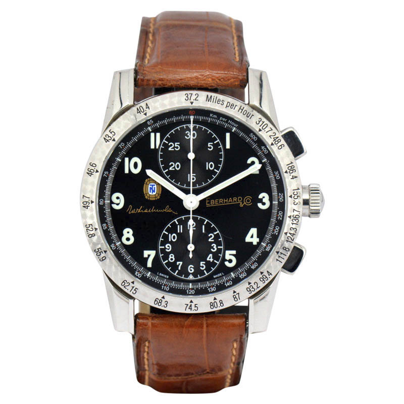 "Image of ""Eberhard Tazio Nuvolari 31037 Stainless Steel / Leather 39mm Mens"""