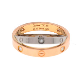 Cartier Love 18K Pink & White with 0.07ct of 6 Diamonds Ring Size 8.5