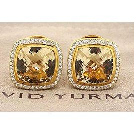 David Yurman 18K Yellow Gold with Citrine & 0.80ct Diamond Albion Stud Earrings