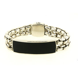 David Yurman 925 Sterling Silver with Onyx ID Plate Tag Double Box Chain Bracelet