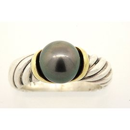 David Yurman 925 Sterling Silver & 18K Yellow Gold with Black Pearl Cable Ring Band Size 5