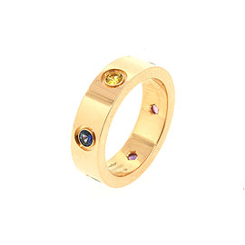 Cartier Love Eternity 18K Rose Gold with Multi Gemstone Band Ring Size 6.5