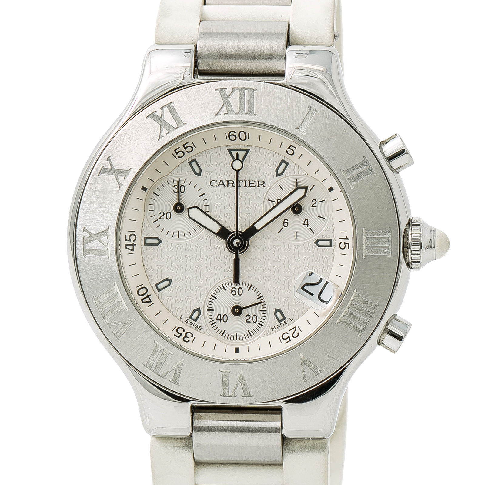 """Image of """"Cartier Must 21 2424 Stainless Steel and Rubber Cream Dial Quartz 38mm"""""""