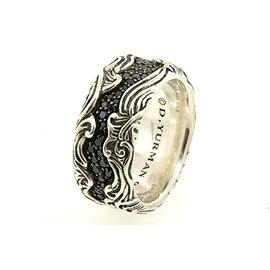 David Yurman 925 Sterling Silver with 0.87ct Black Diamond Waves Band Ring Size 8