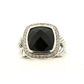 David Yurman Albion Sterling Silver Onyx and 0.18ct. Diamond Ring Size 7