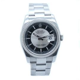 Rolex 116234 Datejust Stainless Steel Rhodium Center Black Dial Oyster Bracelet Mens Watch