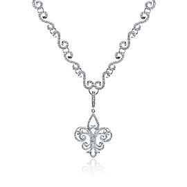 Rhonda Faber Green Fleur De Lis Enhancer 18K White Gold Diamond Pendant