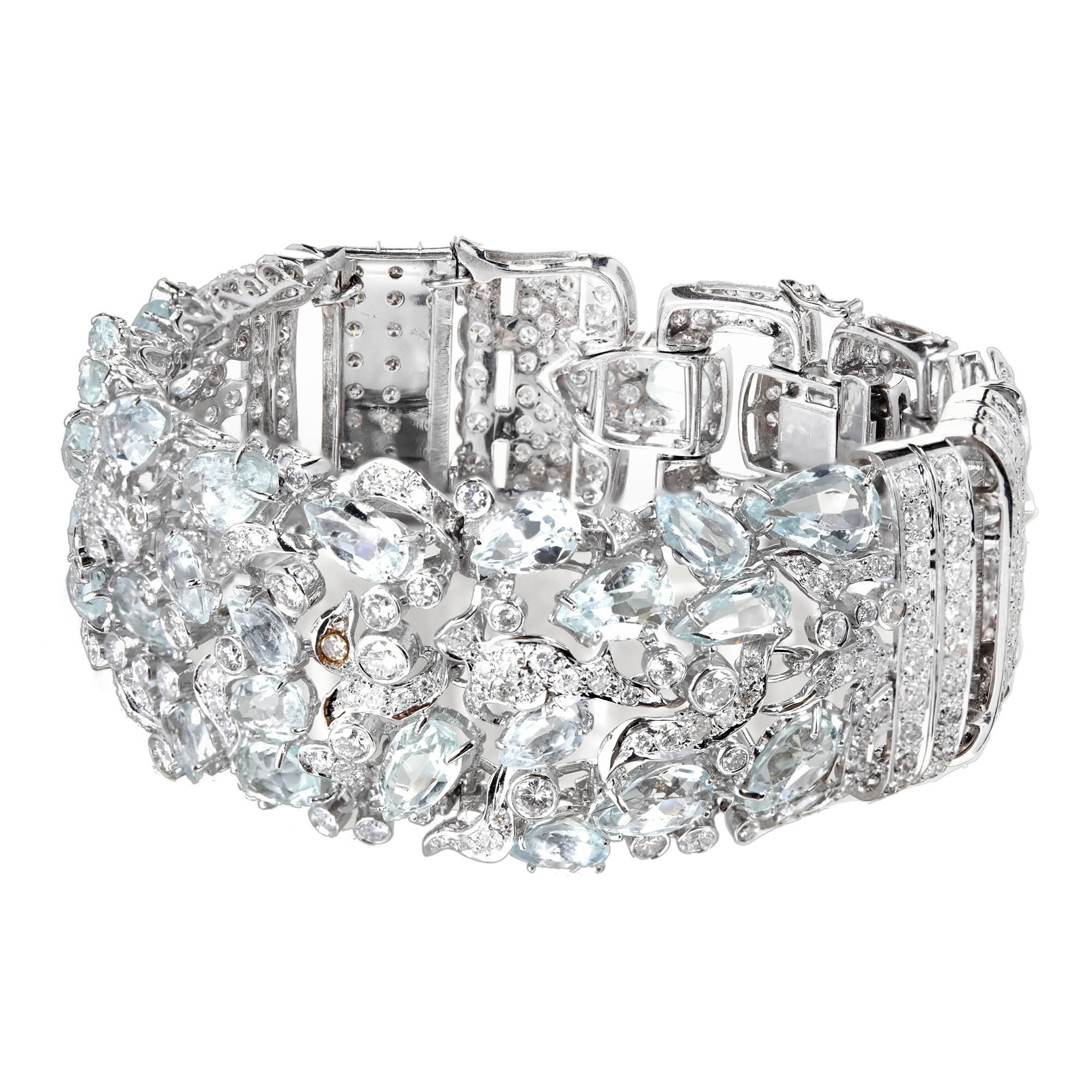 """""""""""18K White Gold with Aquamarine and Diamond Bracelet"""""""""""" 2139747"""