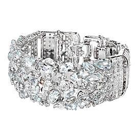 18K White Gold with Aquamarine and Diamond Bracelet