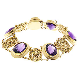 14K Yellow Gold with 27.00ct Amethyst Bracelet