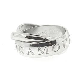 Cartier 18K White Gold OR Amour Et Trinity Band Ring Size 48