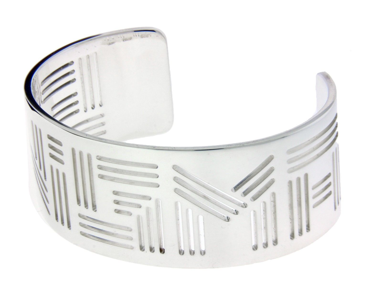 "Image of ""Enigma By Bulgari Enigma Logo bangle in sterling silver size large."""