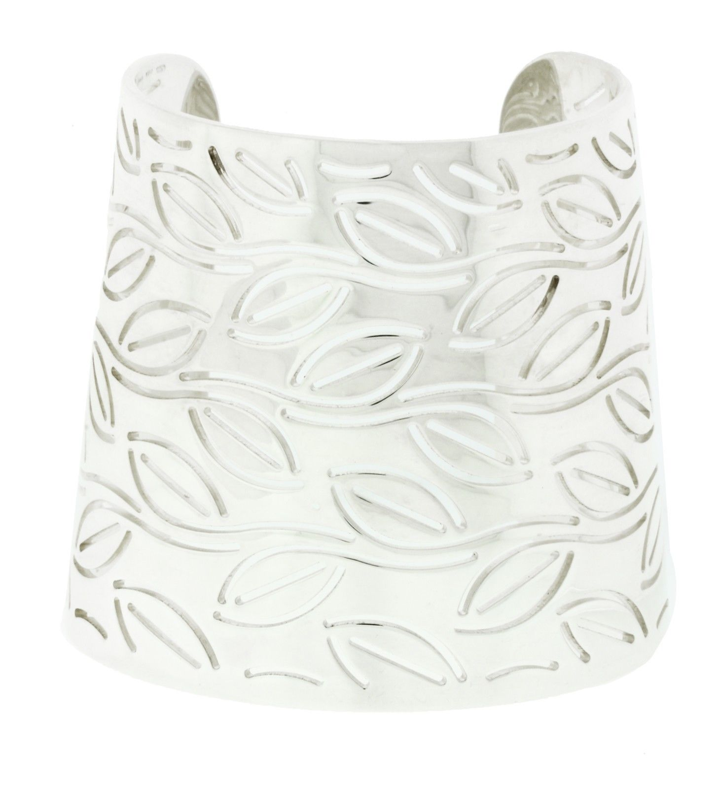 "Image of ""Enigma By Bulgari Sterling Silver Wide Leaves Bangle"""