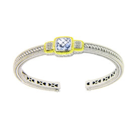 Judith Ripka Sterling Silver 18K Diamond & Blue Topaz Bangle
