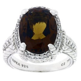 Judith Ripka Sterling Silver Smokey Quartz & CZ Ring