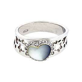 Pasquale Bruni 18K White Gold Pave Diamond Mother Of Pearl Ring Size 7.25