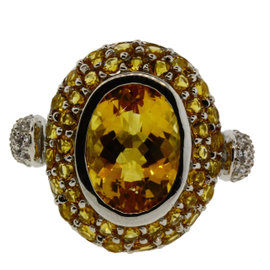 LeVian 14K White Gold Diamond Citrine Ring