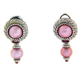 Judith Ripka Sterling Silver Pink Pearl Dangle Earrings
