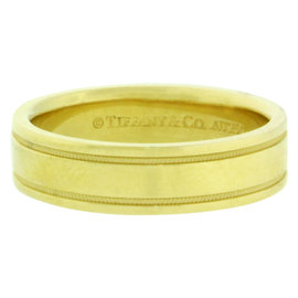 Tiffany & Co. 18K Yellow Gold Double Milgrain Wedding Band Ring