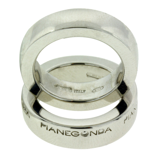 "Image of ""Pianegonda Sterling Silver Set Of Two Logo Ring"""