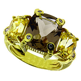 Judith Ripka 18K Yellow GoldCanary and Smokey Crystal Diamond Ring