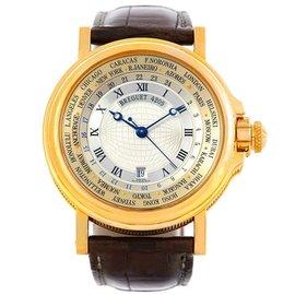 Breguet Marine 3700 World Time Hora Mundi 18K Yellow Gold Watch