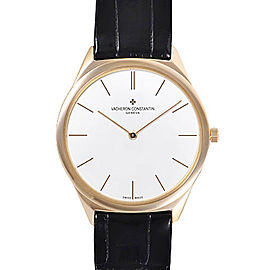 Vacheron Constantin Historiques 33155/000R-9588 18K Rose Gold and Black Leather with Silver Dial 36mm Mens Watch