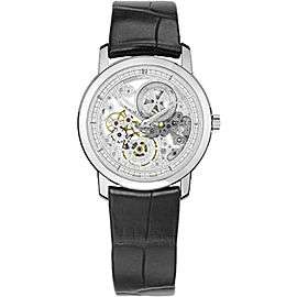 Vacheron Constantin Traditionnelle 33158000G-9394 18K White Gold and Leather with Skeleton Dial 30mm Mens Watch