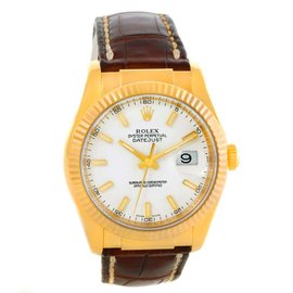 Rolex Datejust 116138 18K Yellow Gold Leather Strap Mens Watch
