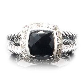 David Yurman Petite Albion Black Onyx and Diamond Ring