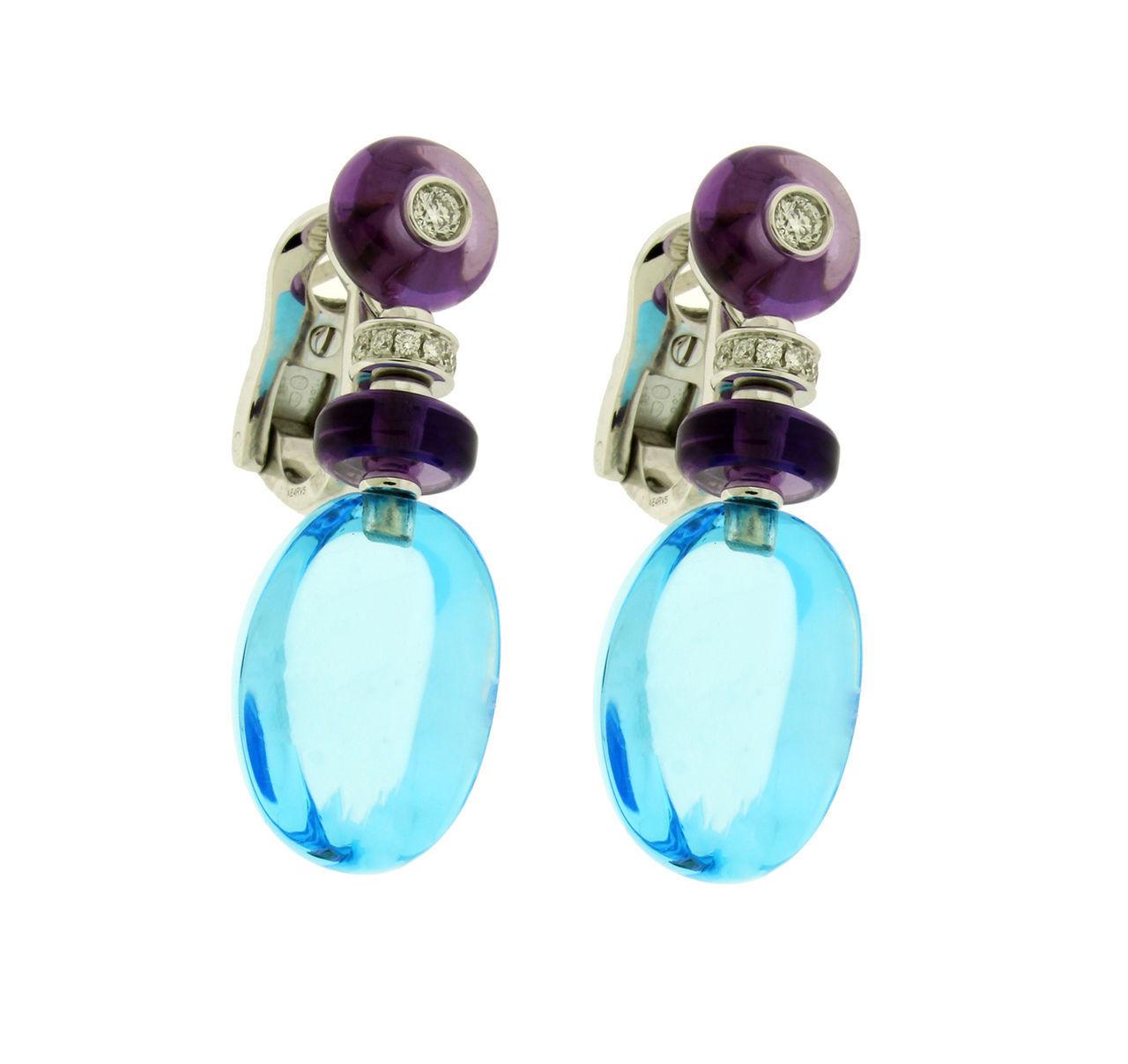 """Image of """"Bulgari 18k White Gold Diamond & Blue Topaz Earrings"""""""