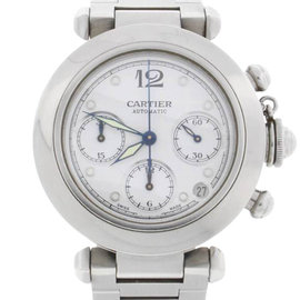 Cartier Pasha 2412 Chronograph Automatic Stainless Steel White Dial 36mm Unisex Watch