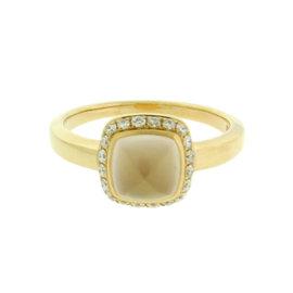 Fred Paris 18K Rose Gold Pink Quartz & Diamond Ring