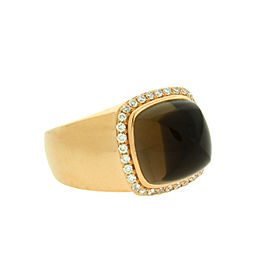 Fred Paris 18K Rose Gold Smokey Quartz & Diamond Ring