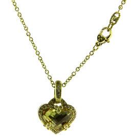 Judith Ripka 14K Yellow Gold Diamond & Canary Quartz Necklace
