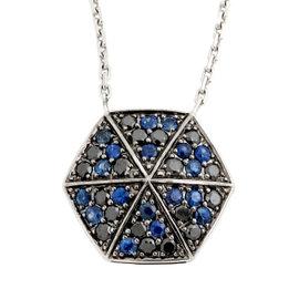 Stephen Webster 18K White Gold Blue Sapphire & Black Diamond Necklace