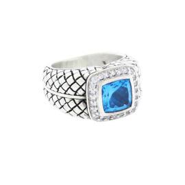 Scott Kay 925 Sterling Silver Diamond & Blue Topaz Ring