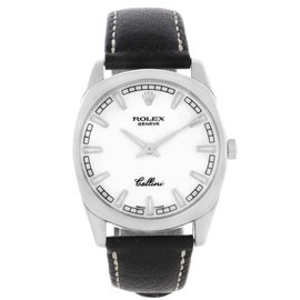 Rolex Cellini Danaos 4243 18K White Gold White Baton Dial Mens Watch