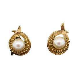 Mikimoto 14K Yellow Gold Non Pierced Screw Back Stud Pearl Earrings