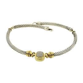 David Yurman Sterling Silver 18K Gold Diamond Pendant Choker Cable Necklace